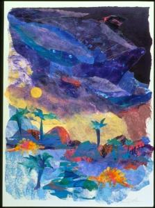 Prehistoric Landscape - 30x20 - Paper Collage